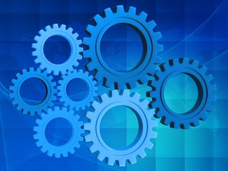 rackwheel: Blue gear-wheel over background with world map Stock Photo