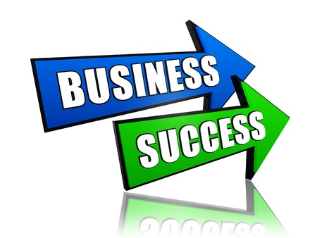 headway: business success - text in 3d arrows, business growth concept words Stock Photo