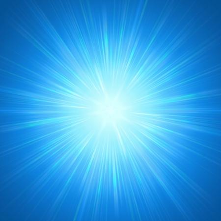つやのある光線で抽象的な背景、青星