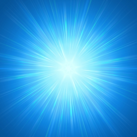abstract background, blue star with shining light rays