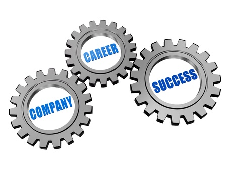 metier: company, career, success - business concept words in 3d silver grey gearwheels