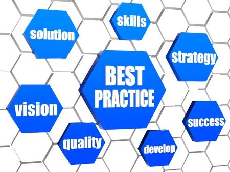 les meilleures pratiques et mots concept d'affaires en hexagones bleus 3d dans la structure cellulaire Banque d'images
