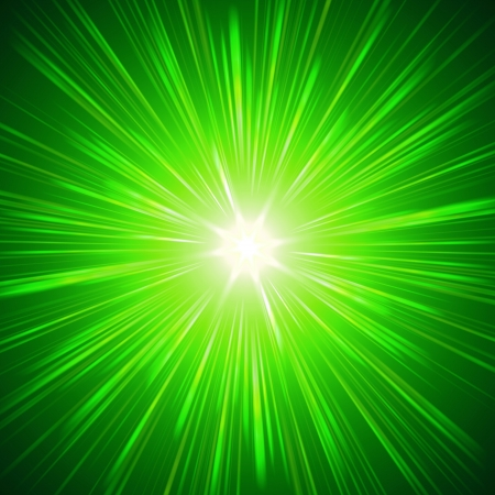irradiation: green star with shining light rays, abstract background Stock Photo
