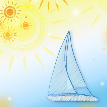 skiff: abstract summer background with drawn yellow suns and blue boat