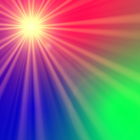 irradiate: radiate star with rainbow light rays, abstract background, lens flare Stock Photo