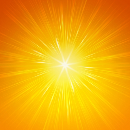 yellow star with shining light rays, abstract background Stock Photo