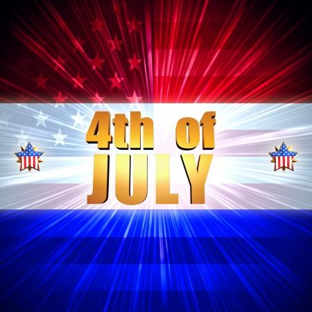 calendario julio: 4 de julio - 3d texto de oro con brillantes estrellas y la bandera americana, EE.UU. independencia