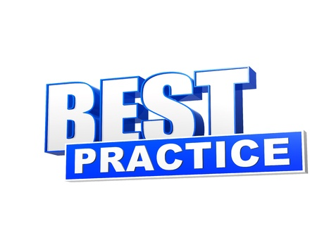 best practice text - 3d blue white banner, letters and block, business concept words photo