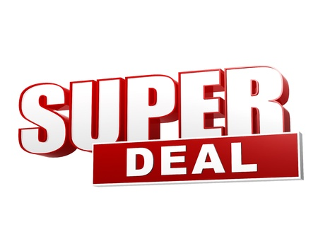 cheap: text super deal - 3d red white banner, letters and block, business concept