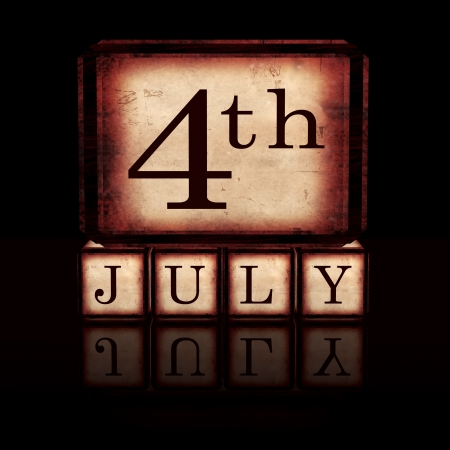 4th of July in 3d wooden cubes with letters over black, retro concept, usa independence Stock Photo - 20332560