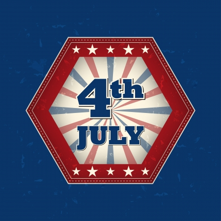 independency: 4th of July - retro style blue hexagon label with text and stars, usa independence