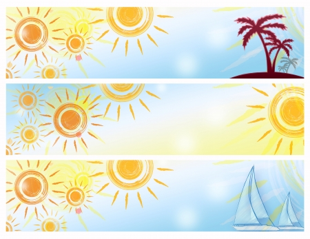 insular: three abstract summer banners with suns, palms and boats
