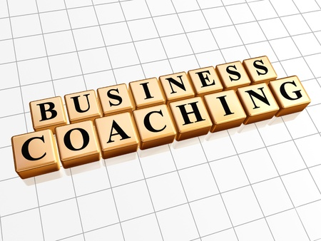 fulfill: business coaching - text in 3d golden cubes with black letters, management develop concept