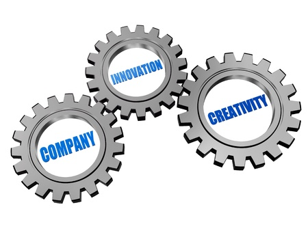 headway: company, innovation, creativity - business concept words in 3d silver grey gearwheels