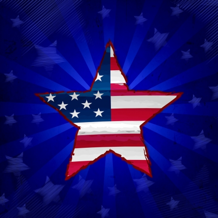 american flag in drawing star over blue rays with stars, usa independence Stock Photo - 20685955