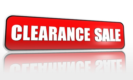 liquidate: clearance sale button - 3d red banner with white text, business concept Stock Photo