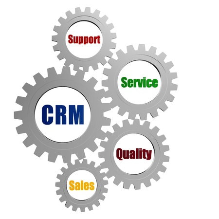 pursue: CRM, support, service, quality, sales - words in 3d silver grey gearwheels, business concept - customer relationship management