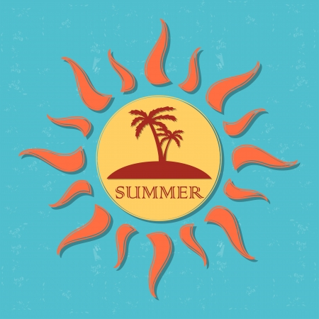 insular: vintage label with text summer in drawn yellow sun with palms and orange rays over blue old paper background