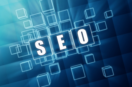 SEO - text in 3d blue glass cubes with white letters, business technology concept - search engine optimization Stock Photo - 20958101
