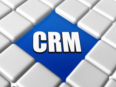 CRM - 3d letters over blue between grey boxes keyboard, business concept - customer relationship management photo