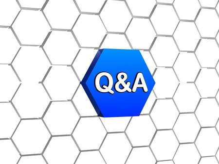 control de calidad: q y un cartel en azul del hexágono 3D en la estructura celular, concepto de negocio