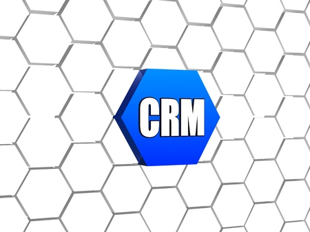 CRM sign - 3d letters over blue hexagon in cellular structure, business concept - customer relationship management photo
