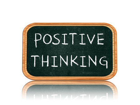 Positive thinking - 3d isolated blackboard banner with chalk text photo
