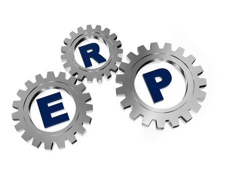 ERP, enterprise resource planning systems � 3d letters and silver grey gearwheels, business concept photo