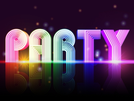 evening glow: Party � retro poster with text and lights