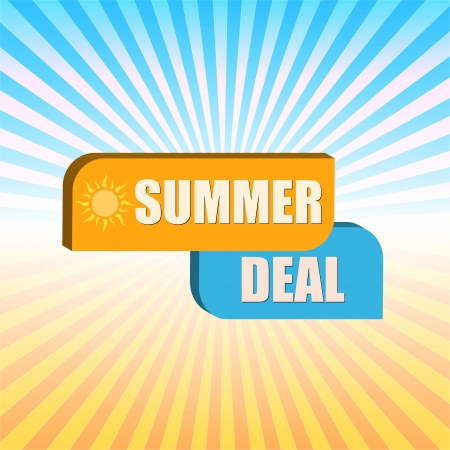 summer deal -  orange and blue box over rays photo
