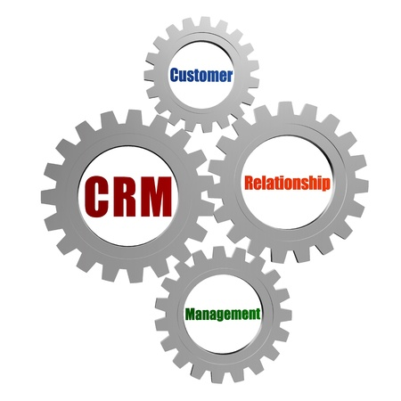 CRM - customer relationship management - business concept words in 3d silver grey gearwheels photo