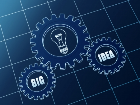 big idea and light bulb sign - business concept words in 3d blueprint gearwheels photo