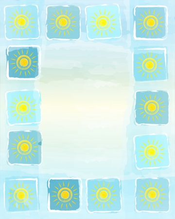 abstract frame summer background with drawn yellow suns in squares over blue sky photo