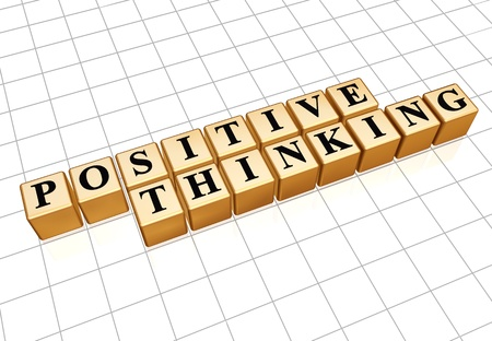 positive thinking - text in 3d golden cubes with black letters, personal development concept photo