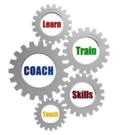 coach, learn, train, skill, teach - business concept words in 3d silver grey gearwheels