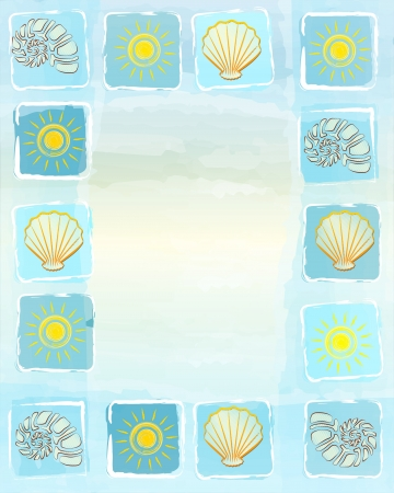 cockleshells: abstract blue frame summer background with drawn yellow suns, shells and scallops in squares