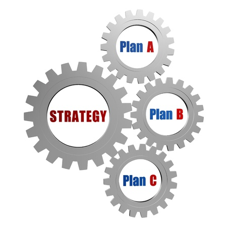 potentiality: strategy and plans - plan A, plan B, plan C - words in 3d silver grey gearwheels, business concept