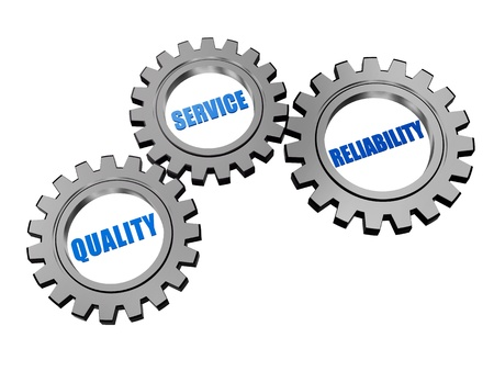 qualité, le service, la fiabilité - les mots en 3D des roues dentées en gris argent, concept d'entreprise