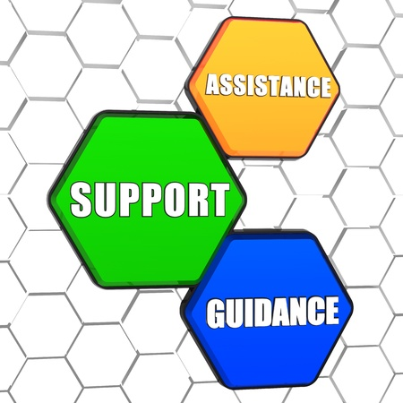 assistance, support, guidance - business concept words in 3d colorful hexagons in cellular structure photo