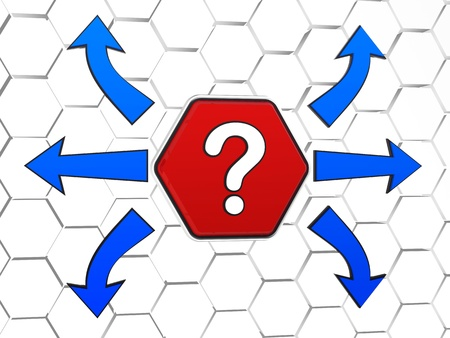 hesitate: question-mark sign and blue arrows in opposite directions, 3d red hexagon in cellular structure, concept image