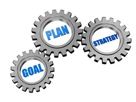 initiative: goal, plan, strategy - words in 3d silver grey gearwheels, business concept