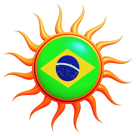 Brazilian flag in 3d sun with orange rays isolated