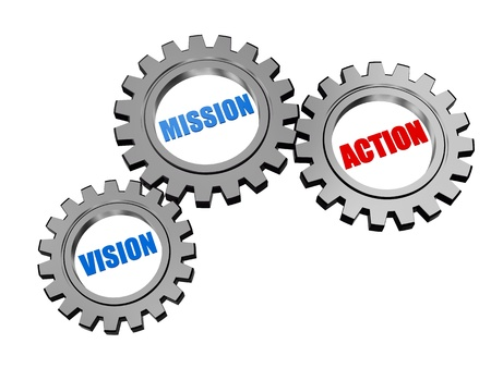 fulfil: vision, mission, action - text in 3d silver grey gearwheels, business concept words Stock Photo