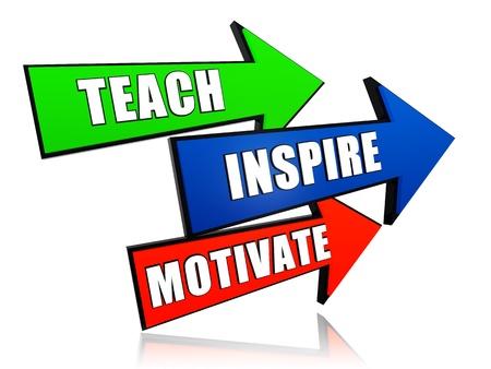 proficiency: teach, inspire, motivate - text in 3d arrows, education motivation concept words Stock Photo