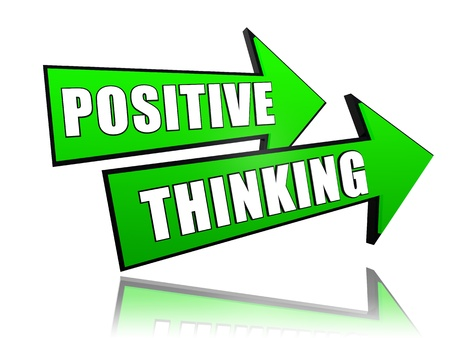 positive thinking - text in 3d green arrows, personal development concept words photo