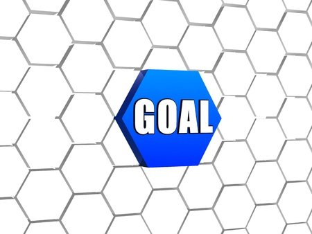 headway: goal - text on 3d blue hexagon button in cellular structure, business concept word