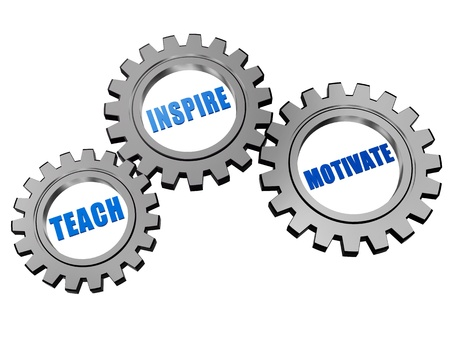 headway: teach, inspire, motivate - text in 3d silver grey gearwheels, education motivation concept words Stock Photo