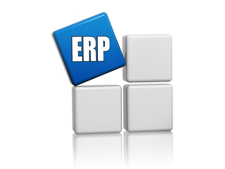 realtime: ERP, enterprise resource planning systems - 3d blue cube with letters on grey boxes, business concept Stock Photo