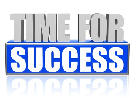 fulfil: time for success text - 3d blue and white letters and block, business growth concept Stock Photo