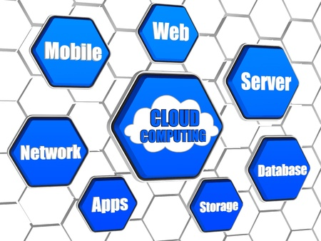 cloud computing - words cloud in 3d blue hexagons in cellular structure, it technology concept photo